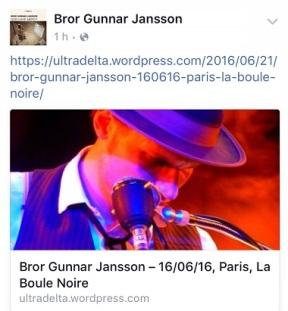 Partage de mon live report par Bror Gunnar Jansson
